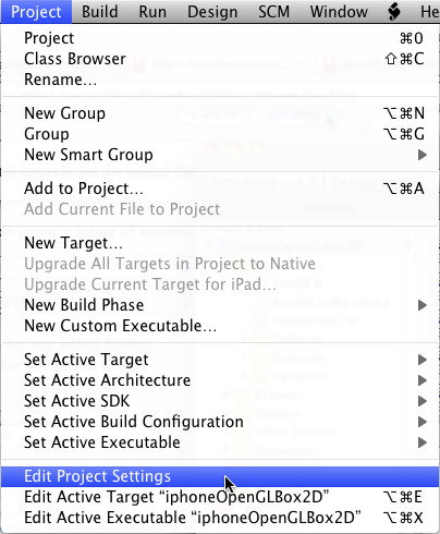iPhone Box2D open project settings
